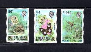 British Indian Ocean Territory, Scott 54-56  VF,  Unused, CV $12.50 .... 0870033