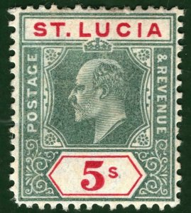 ST LUCIA KEVII Stamp SG.76 5s High Value (1905) Mint MM Cat £85 GRBLUE29