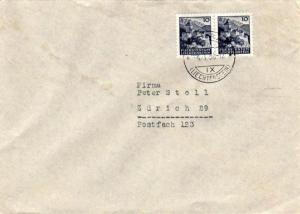 Liechtenstein 10rp Vaduz (2) 1950 Schaan, (Liechtenstein) to Zurich, Switzerl...