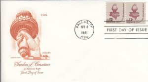 1981, Freedom of Conscience, Artmaster, FDC (D14349)