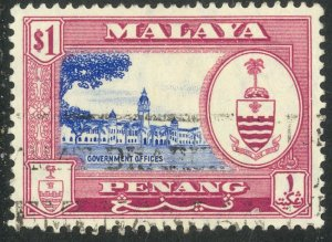 MALAYA PENANG 1960 $1.00 GOVERNMENT OFFICES Pictorial Sc 64 VFU