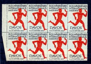 SWITZERLAND 1930 DAVOS Sport Poster Label Block MNH(NT 3556s