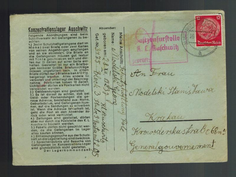 1941 Germany Auschwitz Concentration Camp Cover Krakow KZ Georg Modelski w/ltr