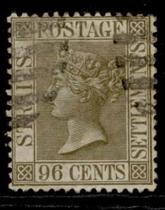MALAYSIA - Straits Settlements QV SG71, 96c olive-green, FINE USED. Cat £55.
