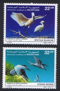 Mauritania Birds Spoonbill Terns 2v issue 1986 SG#875-876 SC#616-617