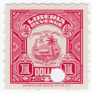 (I.B) Liberia Revenue : Duty Stamp $1 (ABN Specimen)