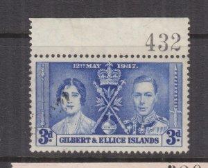 GILBERT & ELLICE ISLANDS, 1937 Coronation, 3d. Blue, Sheet # 432, used.