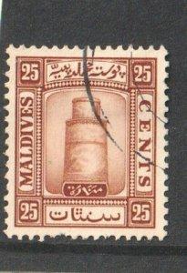 1933  MALDIVES  -  SG:18A  -  KGV - 25c BROWN - WMK UPRIGHT  -  USED