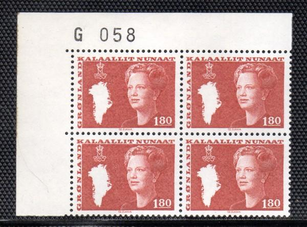 Greenland Sc 125 1.8 kr Queen stamp pl block of 4 mint NH