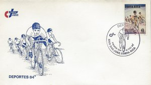 Costa Rica 20th International Bicycle Race Sc 317 FDC 1984