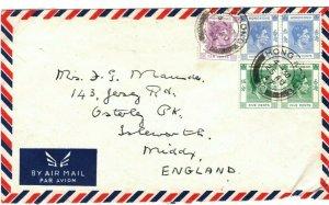 HONG KONG KGVI Cover Air Mail BANKING French Bank GB Middx 1947{samwells}FC60