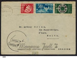 Norway 1949 UPU Cover to Malta