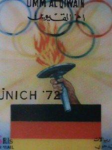 UM-AL QIWAIN STAMP-1972- OLYMPIC GAME MUNICH'72 - AIRMAIL- 3-D STAMP MNH #10