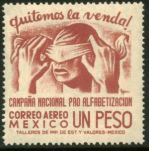 MEXICO C154, $1Peso Blindfold, Literacy Campaign Mint, MINT, NH.F-VF