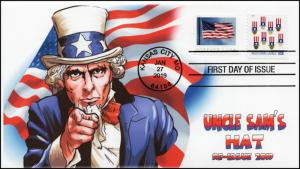 19-0018, 2019, Uncle Sam's Hat, B/.W Postmark, FDC, Re-issue