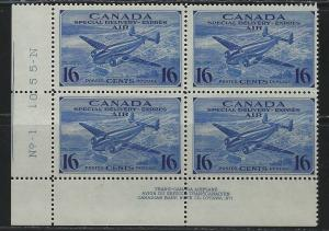 CANADA - #CE1 - 16c SPECIAL DELIVERY LL PLATE #1 MINT BLOCK (1942) MNH