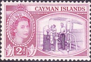 CAYMAN ISLANDS 1954 QEII  2d Reddish Violet & Cerise SG152 MH