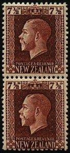NEW ZEALAND GV 7½d 2 perf pair fine mint...................................23690
