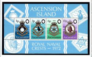 Ascension Is 159a MNH 1972 Royal Naval Crests S/S