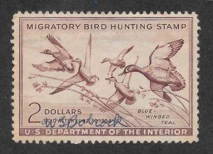 RW20 Used, Federal Duck Stamp, scv: $15, FREE INSURED SHIPPING