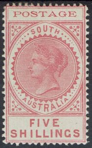 SOUTH AUSTRALIA 1902 QV THIN POSTAGE 5/-