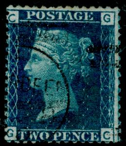 SG47, 2d dp blue PLATE 13, FINE USED, CDS. Cat £30. GG