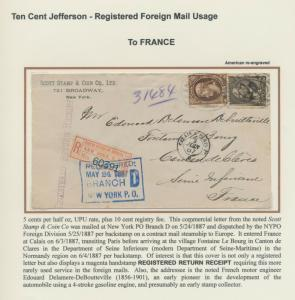 FOREIGN MAIL USAGE 10c JEFFERSON BANKNOTE ON COVER TO FRANCE BU7367 CHST