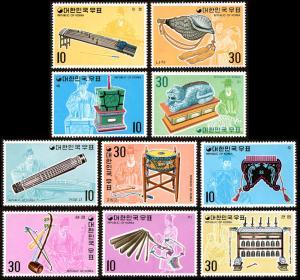 Korea 883-92 set/10 mnh 1974 traditional musical instruments