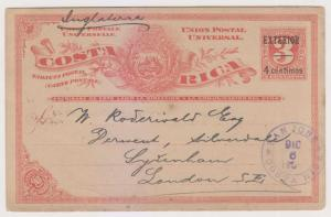 COSTA RICA 1903 PS CARD MENA PC6A EXTERIOR OVPT SAN JOSE TO LONDON VF & RARE