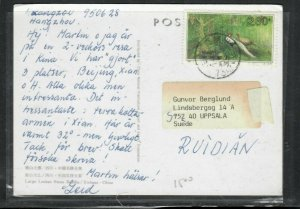 CHINA PRC COVER (P0606B)  2.30F BIRD ON COLORED PPC TO SWEDEN