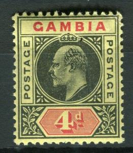 GAMBIA; 1909 Ed VII Mult. Crown CA issue fine Mint hinged 3d. value, Shade