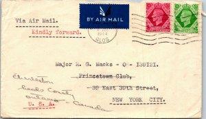 New Club Cheltenham UK > Princetown Club NY > Ontario CA 1944 forwarded air mail