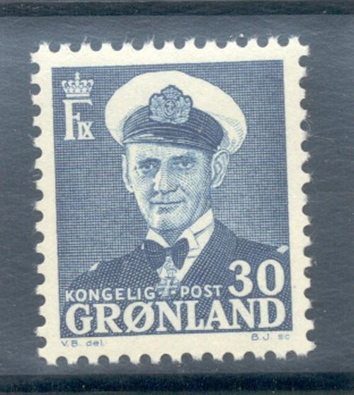 Greenland Sc 33 1953 30 ore Frederik IX stamp mint NH