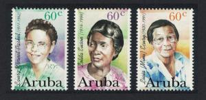 Aruba Anniversaries Famous Women 3v 1996 MNH SG#186-188