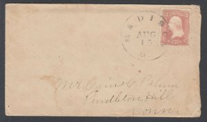 US Sc 65 on 1865 cover w/ Original Enclosure, Madison, OH to Pendleton Hill, CT