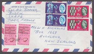 GB 1963 Airmail cover to New Zealand - FPO 907 cds - SHAPE HQ Paris........55079