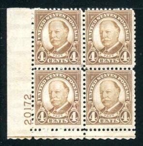 1930 SC# 685 4¢ Taft Plate Block Mint Never Hinged