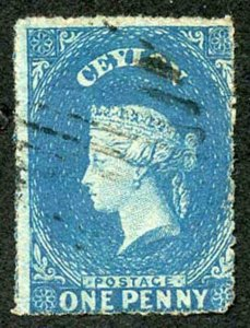 Ceylon SG28 1d Dull Blue Wmk Star Rough Perf 14 to 15.5 Cat 13 pounds