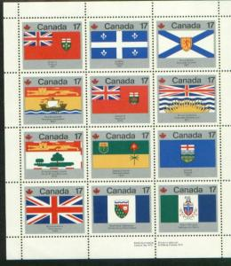 CANADA SET PROV.&TERRITORIAL FLAGS (12) MNH STAMPS  LOT#164
