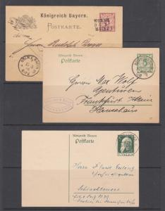 Bavaria H&G 38,66,87 used. 1890-1911 Postal cards, 3 different, nice cancels