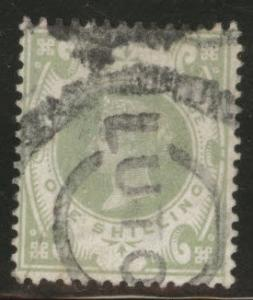 Great Britain Scott 122, 1887 Victoria 1sh CV$67