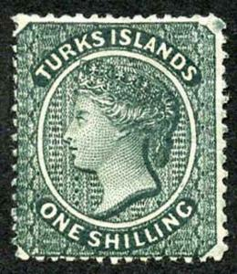 TURKS ISLANDS SG51 1/- slate-green Wmk Crown CC (s/way) M/Mint (hinge remainder)