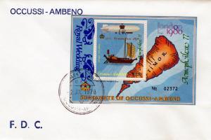 Timor (Ocussi-Ambeno) Ships-Zeppelin ovpt.Royal Wedding FDC