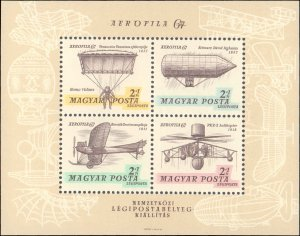 Hungary #CB30b, Complete Set, 1967, Airplanes, Helicopters, Zeppalin, Aviatio...