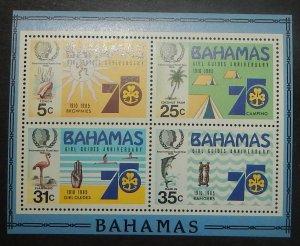 Bahamas 575a. 1985 Girl Guides souvenir sheet, NH