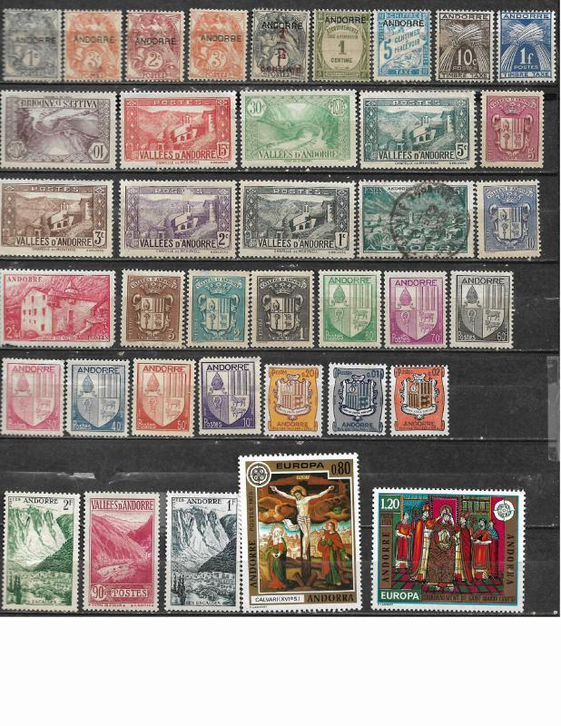 COLLECTION LOT OF 38 ANDORRA FRENCH CLEARANCE