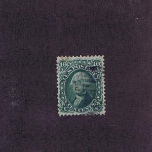 SC# 68 USED 10 CENT WASHINGTON, 1861, PARTIAL GRID CANCEL, PF CERT.