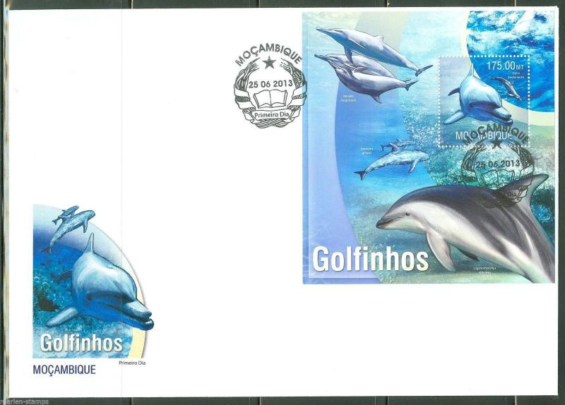 MOZAMBIQUE  2013 DOLPHINS  SOUVENIR SHEET FIRST DAY COVER