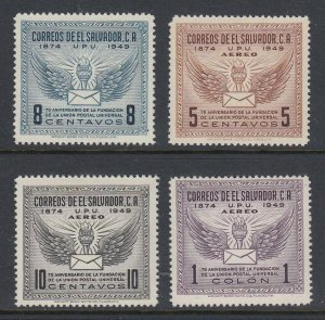El Salvador 1949 UPU Set LM Mint. Scott 613 & C122-C124