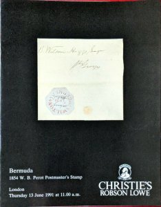 Auction Catalogue BERMUDA 1854 WB PEROT POSTMASTER'S STAMP